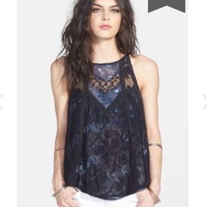 Free people miss Mackenzie lace a-line tank